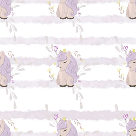 Seamless pattern with cute ponies on a watercolor background. Decorative wallpaper for the nursery in the Scandinavian style. Vector. Suitable for children's clothing, interior design, packaging