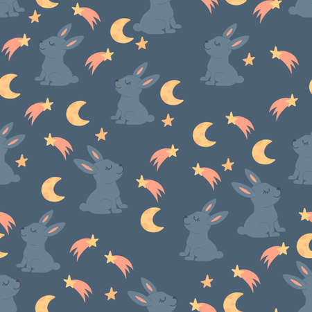 Seamless pattern with cute rabbits among the stars and the moon. Decorative wallpaper for the nursery in the Scandinavian style. Vector. Suitable for children's clothing, interior design, packaging.