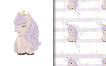 Set of vector seamless backgrounds and illustrations with ponies. Vector baby illustrations in cartoon hand drawn style for printing on clothes, interior design, packaging, printing.
