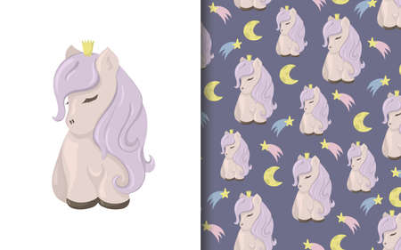 Set of vector seamless backgrounds and illustrations with ponies. Vector baby illustrations in cartoon hand drawn style for printing on clothes, interior design, packaging, printing