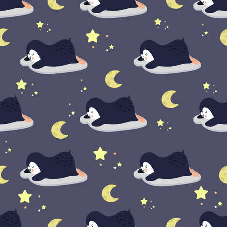 Cute penguins sleep among the stars and the moon. Seamless background with cute animals. Decorative wallpaper for the nursery. Vector. Suitable for children's clothing, interior design, packaging. Ilustracja