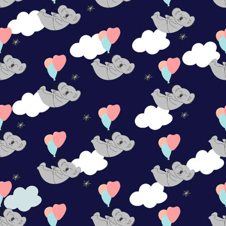 Koala is flying on balloons in the clouds. seamless pattern. Decorative wallpaper for the nursery in the Scandinavian style. Vector. Suitable for children's clothing, interior design, packaging.
