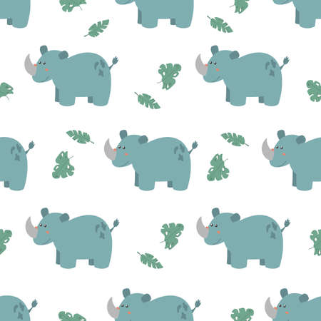 Seamless pattern with cute rhinos. Decorative wallpaper for the nursery in vector, suitable for children's clothing, interior design, packaging, printing