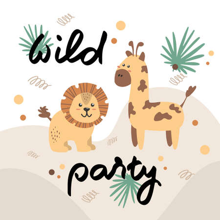 Postcard with a lion and a giraffe. Wild party. Vector children's illustration in cartoon style for printing on children's clothing, interior design, packaging, stickers Illusztráció