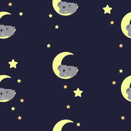 Sleeping koala on the moon among the stars. seamless pattern. Decorative wallpaper for the nursery in the Scandinavian style. Vector. Suitable for children's clothing, interior design, packaging.