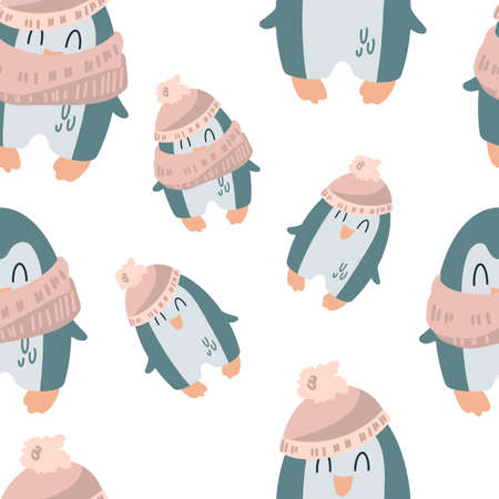 Cute penguins in a hat, scarf. Children's pattern in a cartoon style. Vector illustration for print, textile, wrapping paper, wallpaper Ilustracja