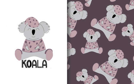 Koala in pink pajamas. Set of vector seamless backgrounds and illustrations. Children's illustrations in cartoon hand-drawn style for printing on clothes, interior design, packaging, printing Ilustracja