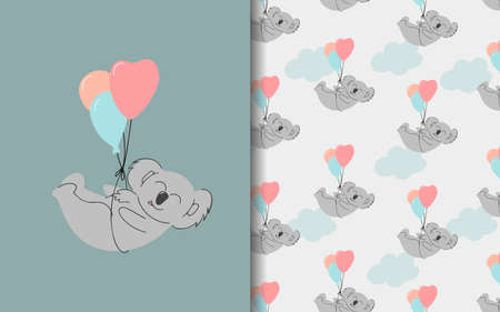 Koala is flying on balloons. Set of vector seamless backgrounds and illustrations. Children's illustrations in cartoon hand-drawn style for printing on clothes, interior design, packaging, printing