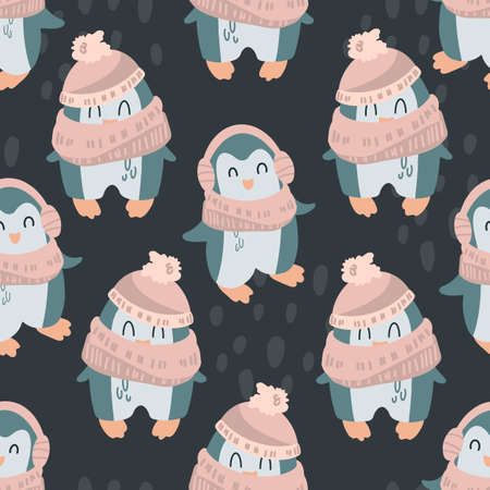 Cute penguins in a hat, scarf on a black background. Children's pattern in a cartoon style. Vector illustration for print, textile, wrapping paper, wallpaper