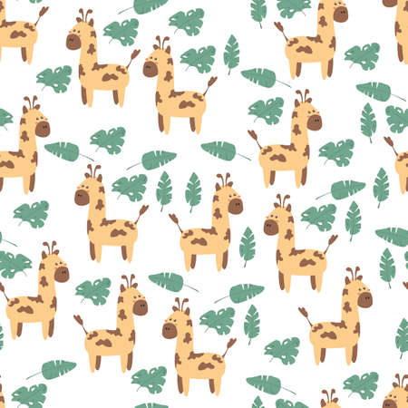 Seamless background with cute giraffes. Decorative wallpaper for the nursery in vector, suitable for children's clothing, interior design, packaging, printing