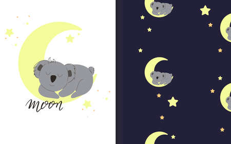 Koala sleeping on the moon. Set of vector seamless backgrounds and illustrations. Children's illustrations in cartoon hand-drawn style for printing on clothes, interior design, packaging, printing