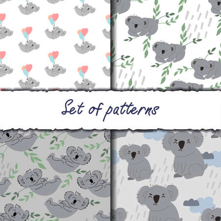 A set of four backgrounds with cute koalas. Decorative wallpaper for the nursery in the Scandinavian style. Vector. Suitable for children's clothing, interior design, packaging, printing  イラスト・ベクター素材