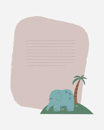 Vector children's card with an elephant on the island. Text templates for children's party, baby shower, cards, invitations, diplomas  イラスト・ベクター素材