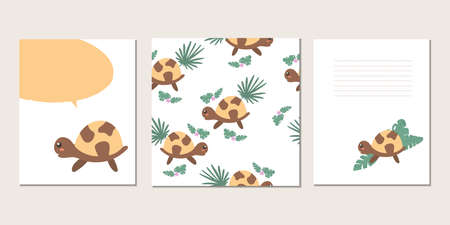 Set of vector baby cards with turtles. Text templates for children's party, baby shower, cards, invitations, diplomas  イラスト・ベクター素材