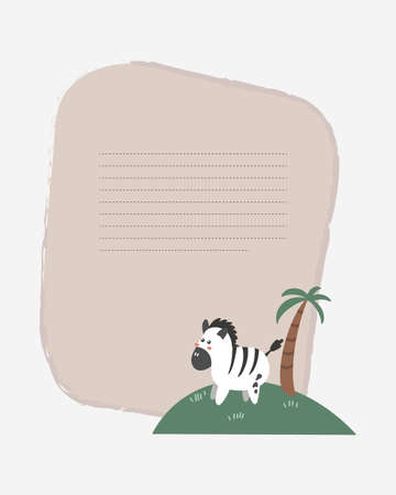 Vector children's card with a zebra on the island. Text templates for children's party, baby shower, cards, invitations, diplomas