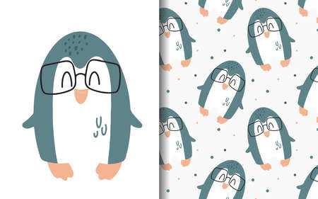 Set of vector backgrounds and illustrations with penguin. Children's illustrations in cartoon hand-drawn style for printing on clothes, interior design, packaging, printing