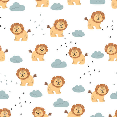 Seamless pattern with cute lions. Decorative wallpaper for the nursery in vector, suitable for children's clothing, interior design, packaging, printing