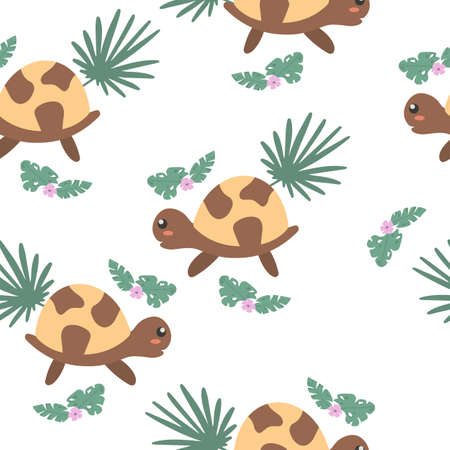 Seamless pattern with cute turtles. Decorative wallpaper for the nursery in vector, suitable for children's clothing, interior design, packaging, printing  イラスト・ベクター素材