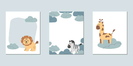 Set of vector children's cards with lion, zebra and giraffe. Templates for text for a children's party, baby shower, cards, invitations, diplomas  イラスト・ベクター素材
