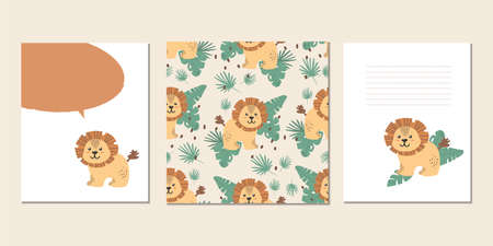 Set of vector children's cards with lions. Text templates for children's party, baby shower, postcards, invitations, diplomas