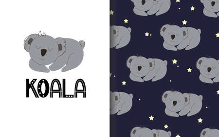 Sleeping koala. Set of vector seamless backgrounds and illustrations. Children's illustrations in cartoon hand-drawn style for printing on clothes, interior design, packaging, printing