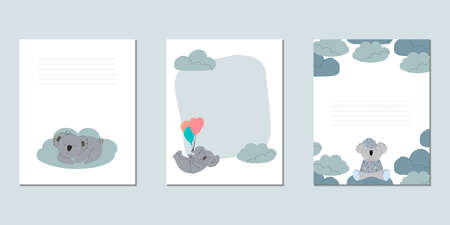Set of vector baby cards with koalas. Templates for text for a children's party, baby shower, cards, invitations, diplomas  イラスト・ベクター素材