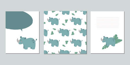 Set of vector baby cards with rhinos. Text templates for children's party, baby shower, postcards, invitations, diplomas
