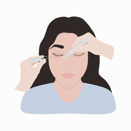 A cute girl builds up her butchers. Vector illustration of eyelash care cosmetic procedure.
