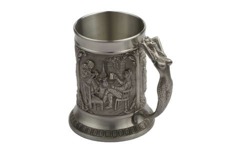 Ancient beer mug from metal with the beautiful handle-mermaid Stock Photo - 11012801