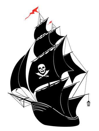 drapeau pirate: Une silhouette d'un bateau pirate vieille voile - illustration vectorielle