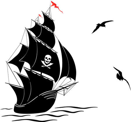 navire: Une silhouette d'un bateau pirate vieille voile et deux mouettes - illustration vectorielle
