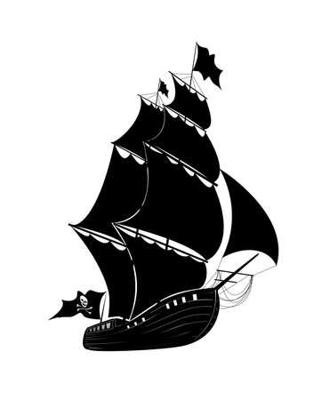 drapeau pirate: Le voilier dessin de pirate