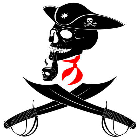 sabel: Schedel van de piraat met een stropdas, hoed, zwaarden en het roken van een pijp Stock Illustratie