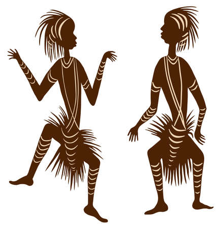 the tribe: two african men dancing in skirts
