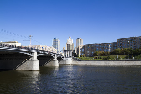 View of the Borodinsky bridge and the building of the Ministry of Foreign Affairs in Moscow
