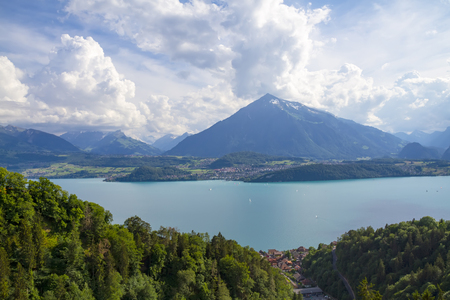 Panoramic view from the suspension bridge in the city of Thun in Switzerland Фото со стока