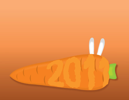 carrot, hare and New Year Stock Vector - 8140909