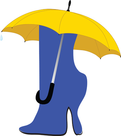slush: A knee-boot under an umbrella from which is rolled drop raining
