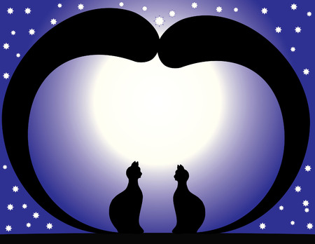 amorousness: In Love cats sit at night on a roof by the light of month on a background star sky. Illustration