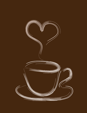 Cup of coffee on a dark brown background Illustration
