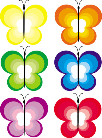 flit: Six multi-coloured butterflies from circles