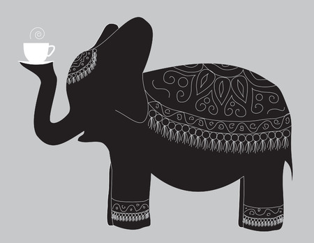 A large beautiful elephant carries the cup of fragrant tea Çizim