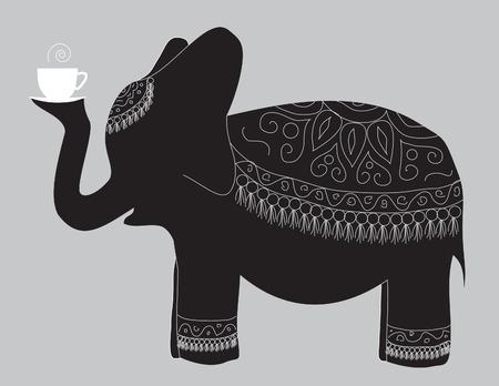 silhouettes elephants: Un gran elefante hermoso lleva la taza de t� fragante