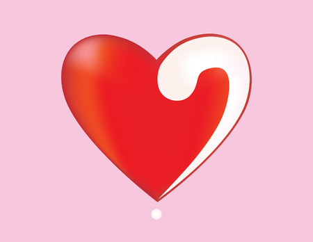 question mark: Herz mit einem Fragezeichen. Liebt oder nicht?