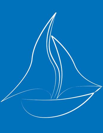 deportes nauticos: Velero desde el blanco esquejes despegue sobre un fondo de color azul claro  Vectores