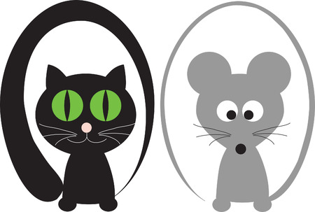 pair cat and mouse for the decoration of wares for children Vector