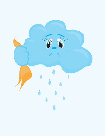 A sorrowful cloud cries and it is raining