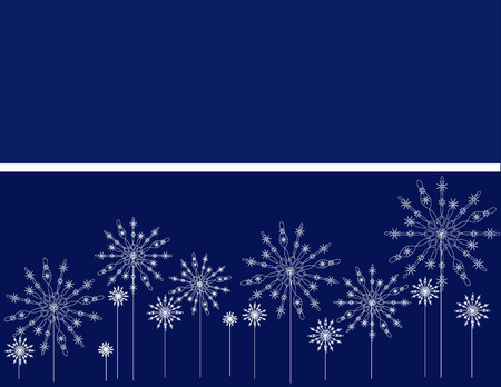 Snowflakes-flowers on a navy blue background for the insertion of text