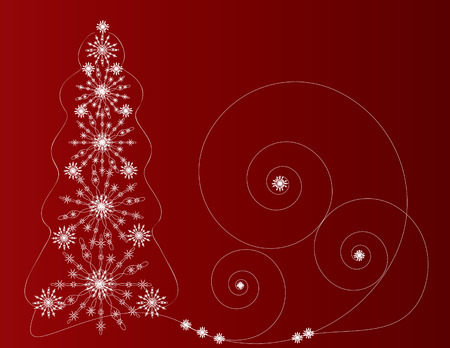 Kreativnaya fir-tree from snowflakes for decorations on a new-year and christmas subject Vector