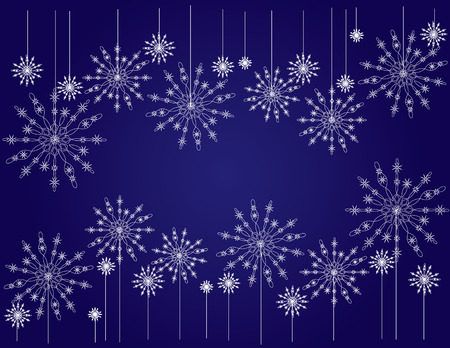 Darkly dark blue background with snowflakes for new-year holidays